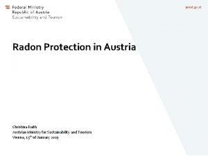bmnt gv at Radon Protection in Austria Christina