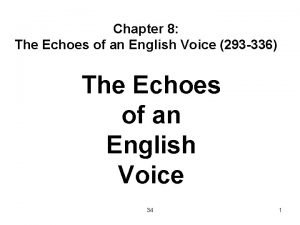 Chapter 8 The Echoes of an English Voice