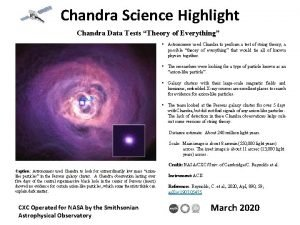 Chandra Science Highlight Chandra Data Tests Theory of