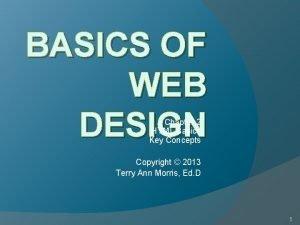 BASICS OF WEB DESIGN Chapter 2 HTML Basics