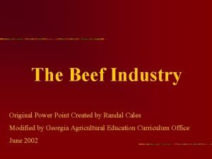 The Beef Industry Original Power Point Created by