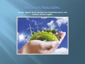 Recursos Naturales He aqu algunos de los recursos