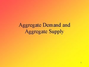Aggregate Demand Aggregate Supply 1 Aggregate Demand Aggregate
