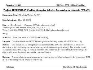 November 13 2003 IEEE doc IEEE 15 03