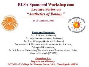 RUSA Sponsored Workshop cum Lecture Series on Aesthetics