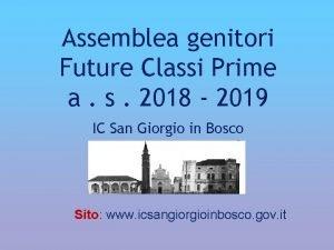 Assemblea genitori Future Classi Prime a s 2018