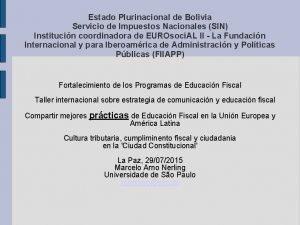 Estado Plurinacional de Bolivia Servicio de Impuestos Nacionales
