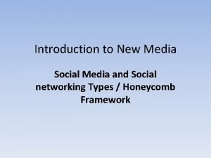 Introduction to New Media Social Media and Social