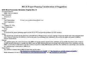 802 16 Project Planning Considerations Suggestions IEEE 802