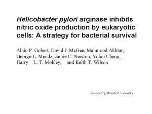 Helicobacter pylori arginase inhibits nitric oxide production by
