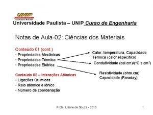 Universidade Paulista UNIP Curso de Engenharia Notas de