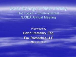 Solar Energy in New Jersey Hot Topics Environmental