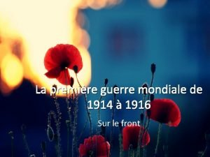 La premire guerre mondiale de 1914 1916 Sur
