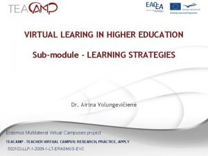 VIRTUAL LEARING IN HIGHER EDUCATION Submodule LEARNING STRATEGIES