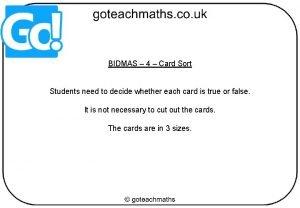 BIDMAS 4 Card Sort Students need to decide