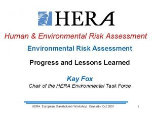 Human Environmental Risk Assessment Progress and Lessons Learned
