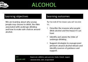 ALCOHOL Learning objectives Learning outcomes We are learning