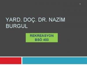 1 YARD DO DR NAZM BURGUL REKREASYON BS