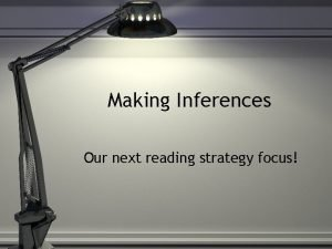 Making Inferences Our next reading strategy focus Inference
