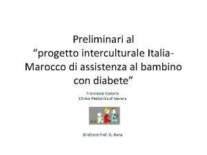 Preliminari al progetto interculturale Italia Marocco di assistenza