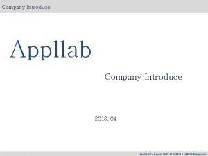 Company Introduce Appllab Company Introduce 2013 04 Apple