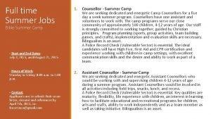 Full time Summer Jobs Bible Summer Camp Start