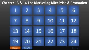 Chapter 13 14 The Marketing Mix Price Promotion