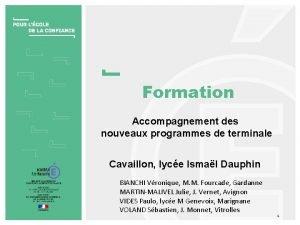 Formation Accompagnement des nouveaux programmes de terminale Cavaillon