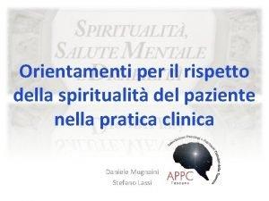 Orientamenti per il rispetto della spiritualit del paziente