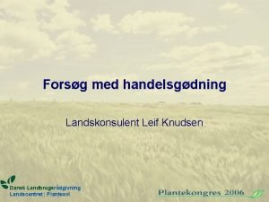 Forsg med handelsgdning Landskonsulent Leif Knudsen Dansk Landbrugsrdgivning