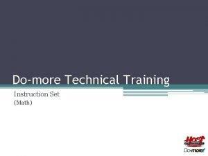 Domore Technical Training Instruction Set Math Instruction Set