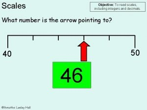 Scales Objective To read scales including integers and