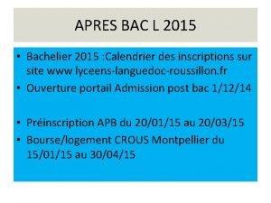 APRES BAC L 2015 Bachelier 2015 Calendrier des
