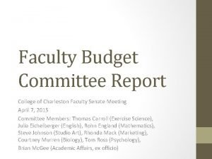 Faculty Budget Committee Report College of Charleston Faculty