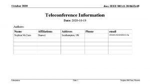 October 2020 doc IEEE 802 11 200632 r