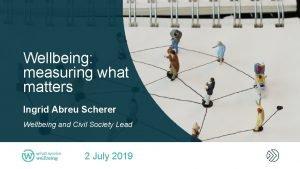 Wellbeing measuring what matters Ingrid Abreu Scherer Wellbeing