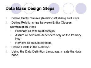 Data Base Design Steps 1 2 Define Entity
