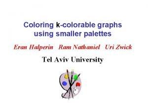 Coloring kcolorable graphs using smaller palettes Eran Halperin