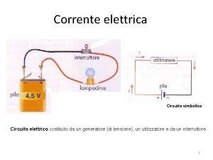 Corrente elettrica Circuito simbolico Circuito elettrico costituito da