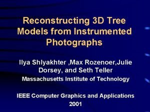 Reconstructing 3 D Tree Models from Instrumented Photographs