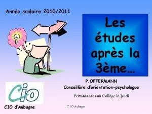 Anne scolaire 20102011 Les tudes aprs la 3me