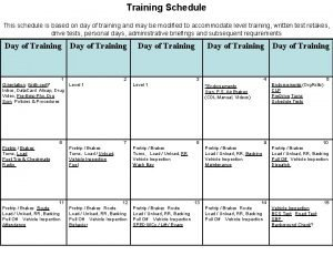 Training Schedule This schedule is based on day