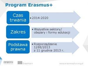 Program Erasmus Czas trwania Zakres Podstawa prawna 2014