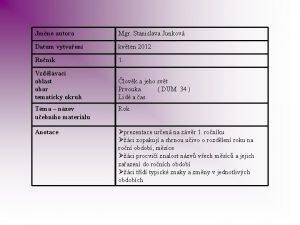 Jmno autora Mgr Stanislava Junkov Datum vytvoen kvten