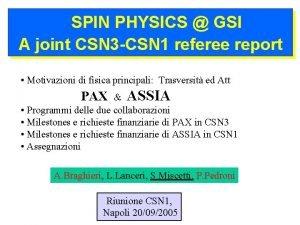 SPIN PHYSICS GSI A joint CSN 3 CSN