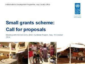 United Nations Development Programme Iraq Country Office Small