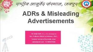 ADRs Misleading Advertisements Vd Sudipt Rath M D
