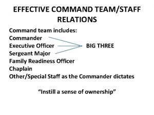 EFFECTIVE COMMAND TEAMSTAFF RELATIONS Command team includes Commander