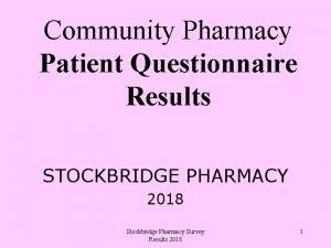 Community Pharmacy Patient Questionnaire Results STOCKBRIDGE PHARMACY 2018