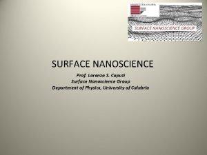 SURFACE NANOSCIENCE Prof Lorenzo S Caputi Surface Nanoscience